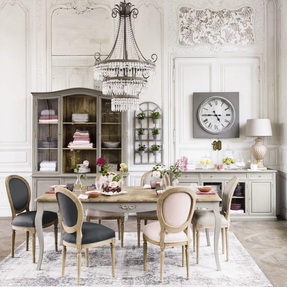 chaise m daillon en lin lav gris clair louis maisons du. Black Bedroom Furniture Sets. Home Design Ideas