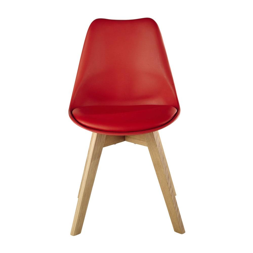 chaise scandinave rouge et ch ne massif ice maisons du monde. Black Bedroom Furniture Sets. Home Design Ideas