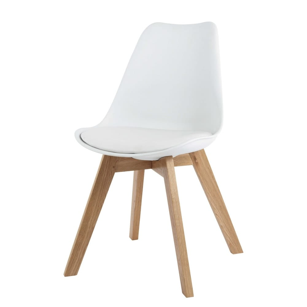 Chaise Style Scandinave Blanche Et Chene Massif Ice