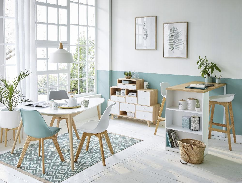 Chaise style scandinave blanche et chêne massif Ice | Maisons du Monde