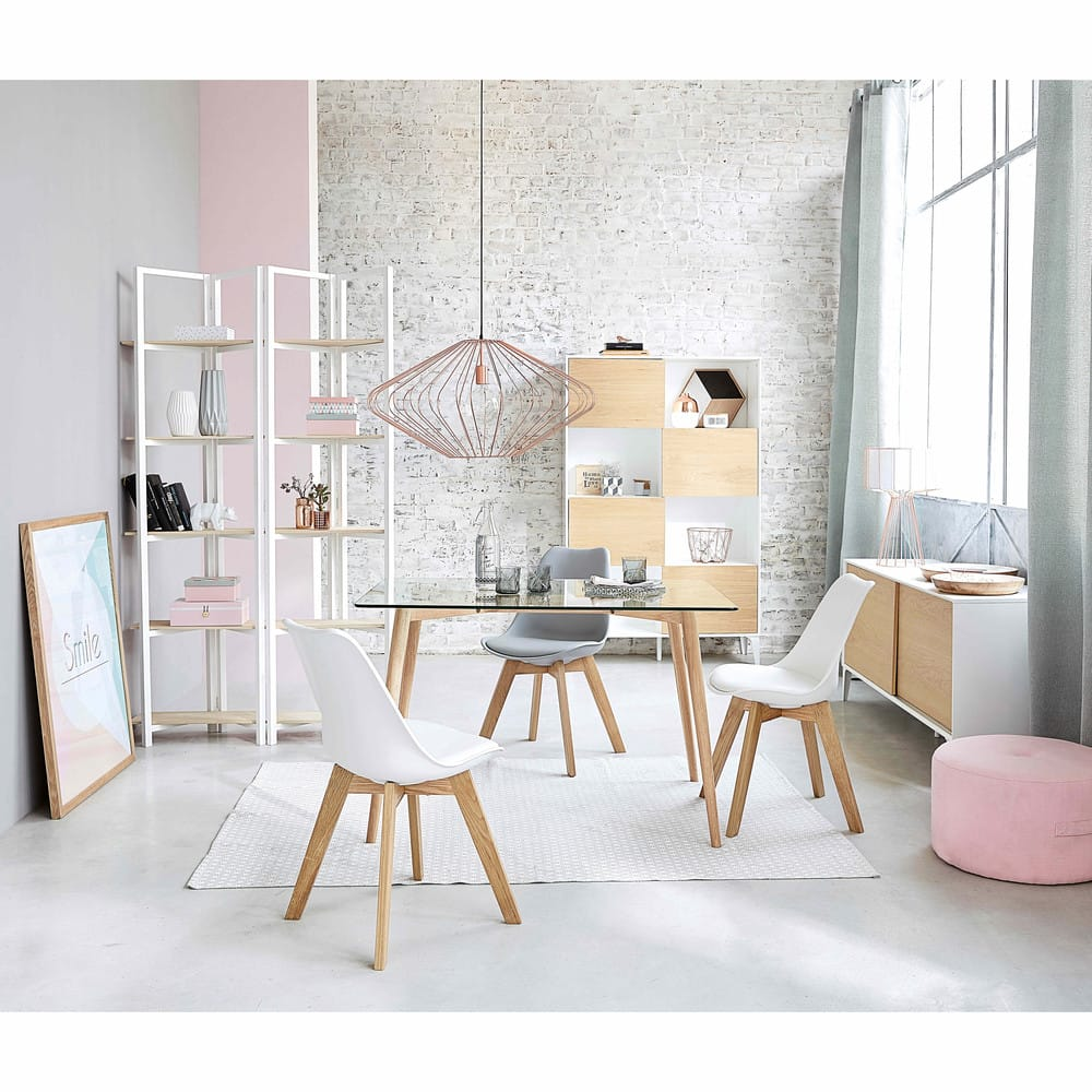 chaise style scandinave blanche et ch ne massif ice maisons du monde. Black Bedroom Furniture Sets. Home Design Ideas