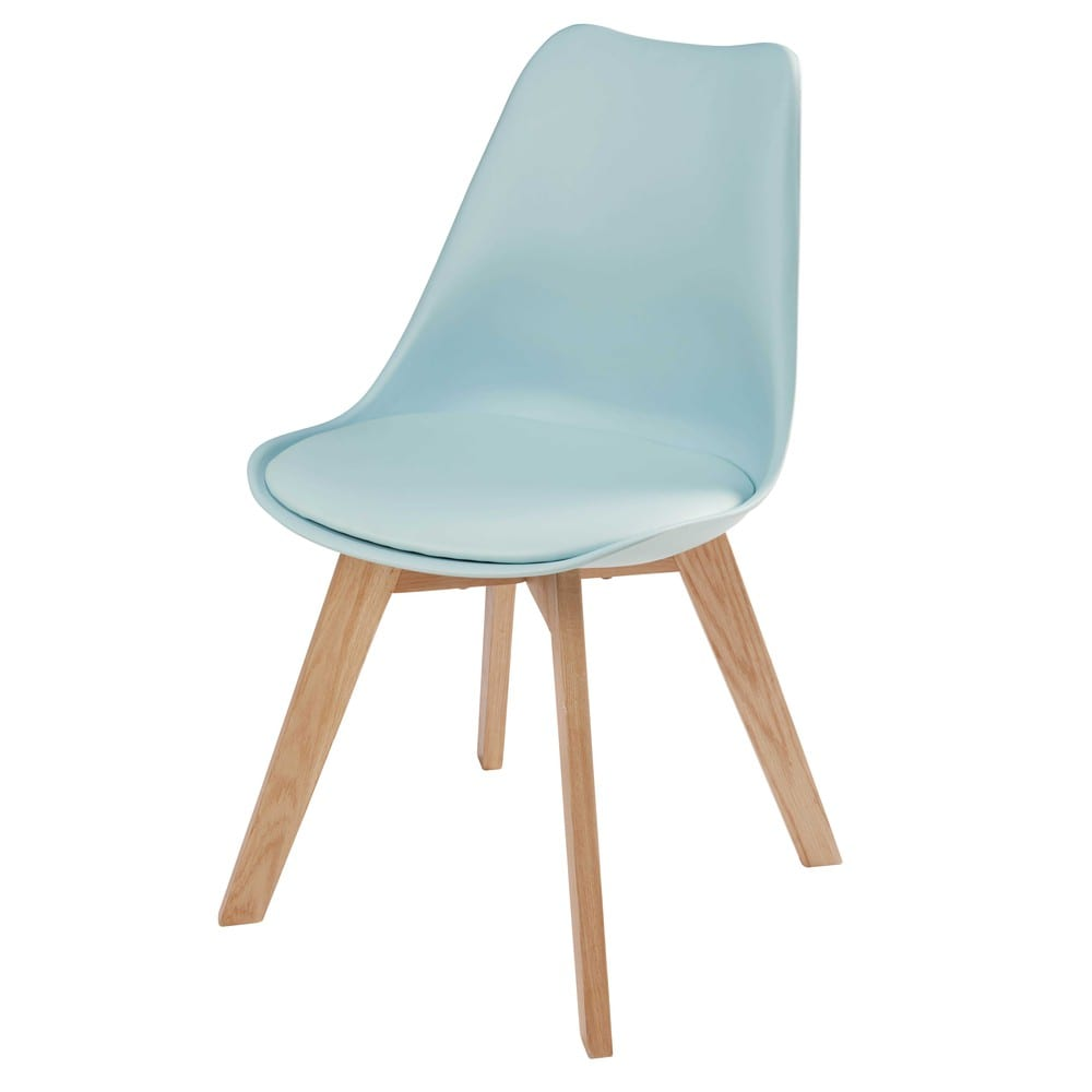 Chaise Style Scandinave Bleu Clair Et Chene Ice