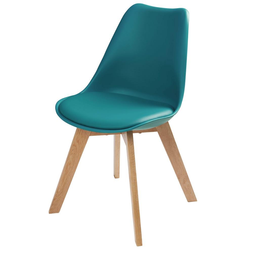 chaise style scandinave bleu p trole et ch ne ice maisons du monde. Black Bedroom Furniture Sets. Home Design Ideas