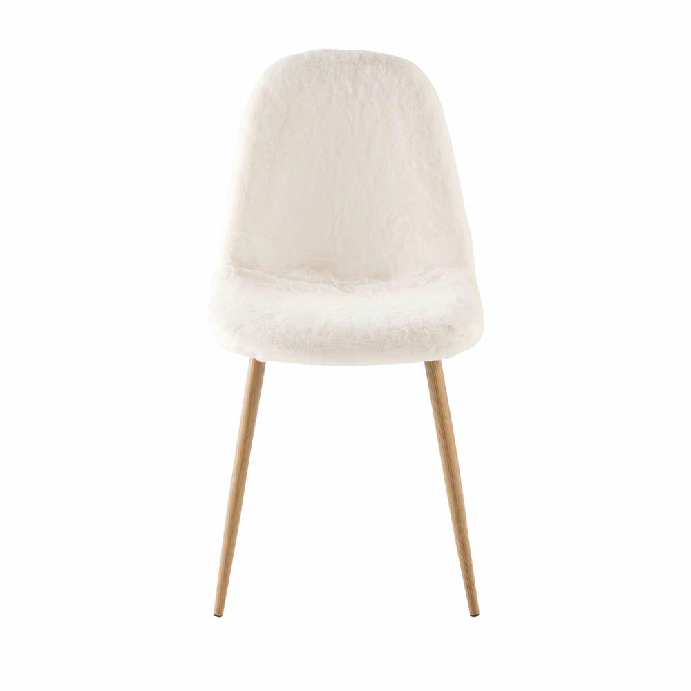 chaise style scandinave en imitation fourrure blanche clyde maisons du monde. Black Bedroom Furniture Sets. Home Design Ideas