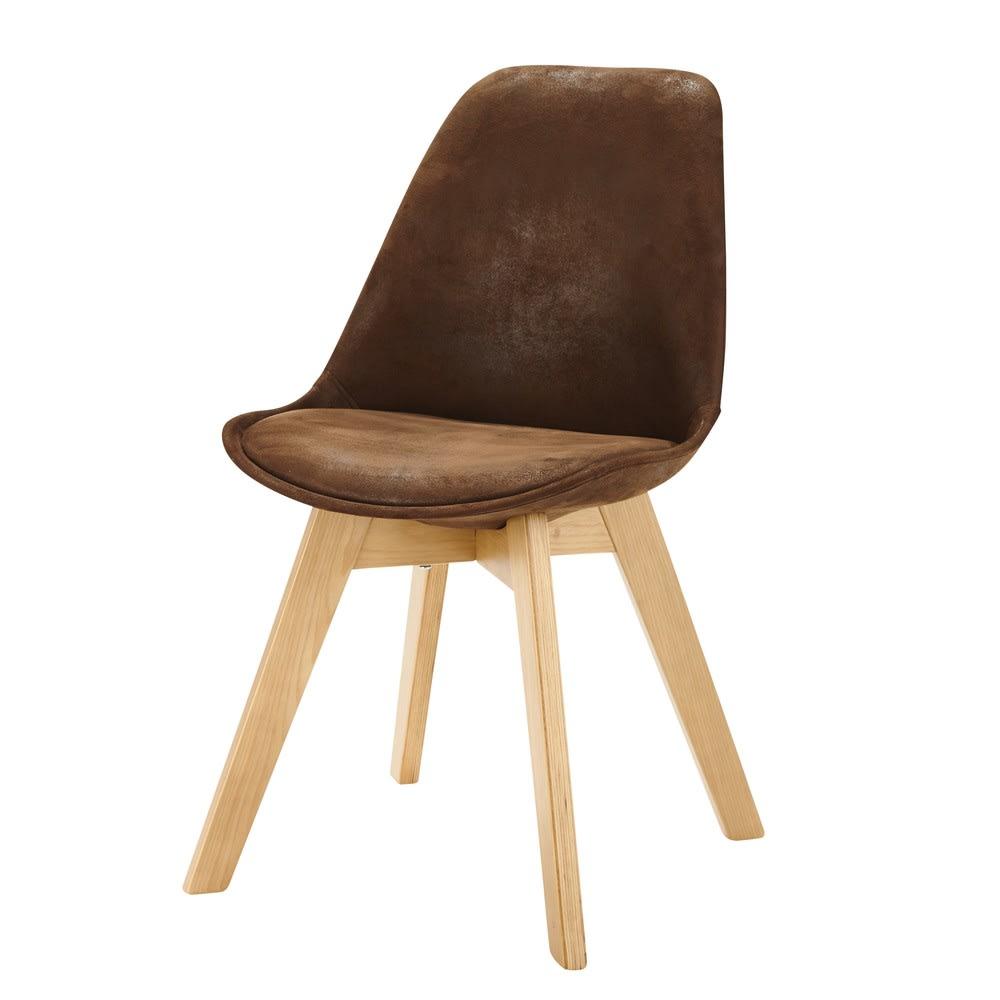 chaise style scandinave en microsu de marron ice maisons du monde. Black Bedroom Furniture Sets. Home Design Ideas