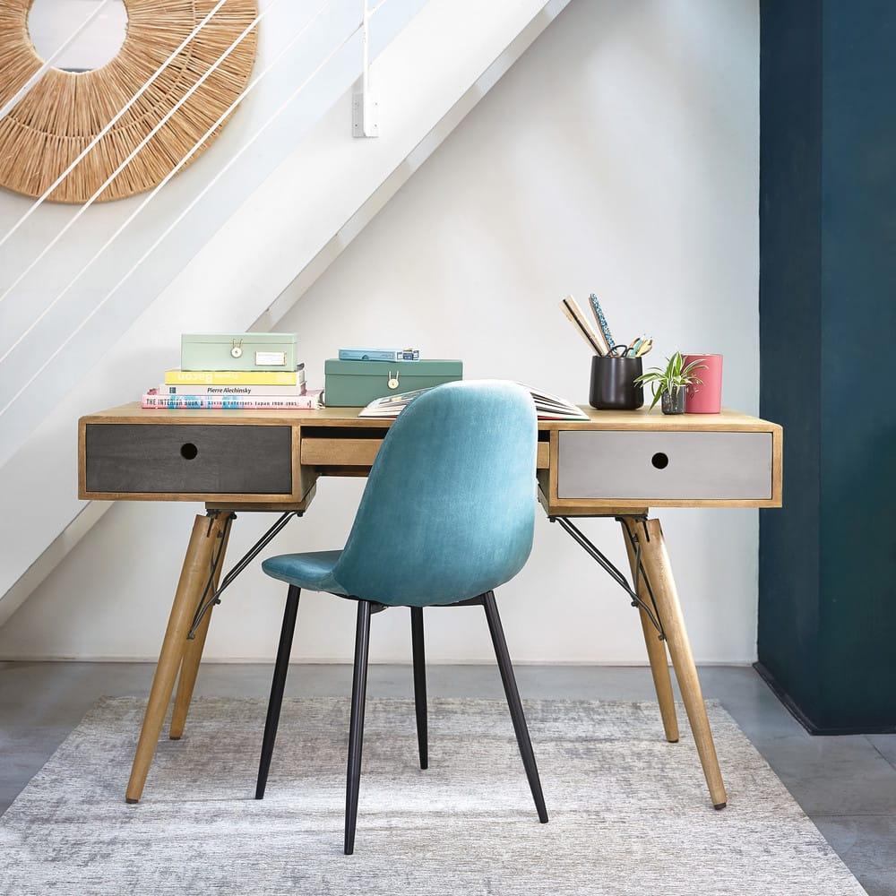 chaise style scandinave en velours bleu clyde maisons du. Black Bedroom Furniture Sets. Home Design Ideas