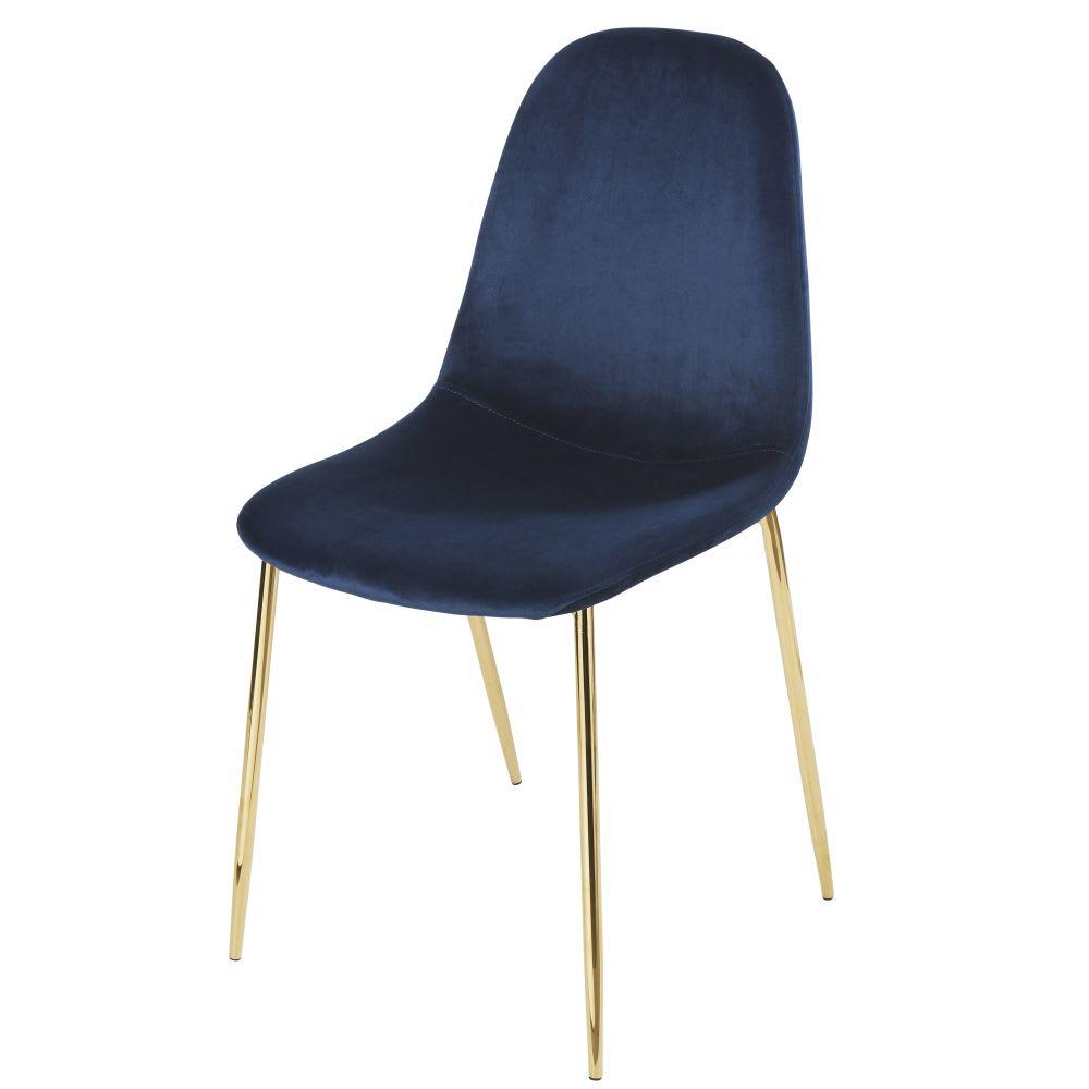 chaise style scandinave en velours bleu nuit clyde. Black Bedroom Furniture Sets. Home Design Ideas