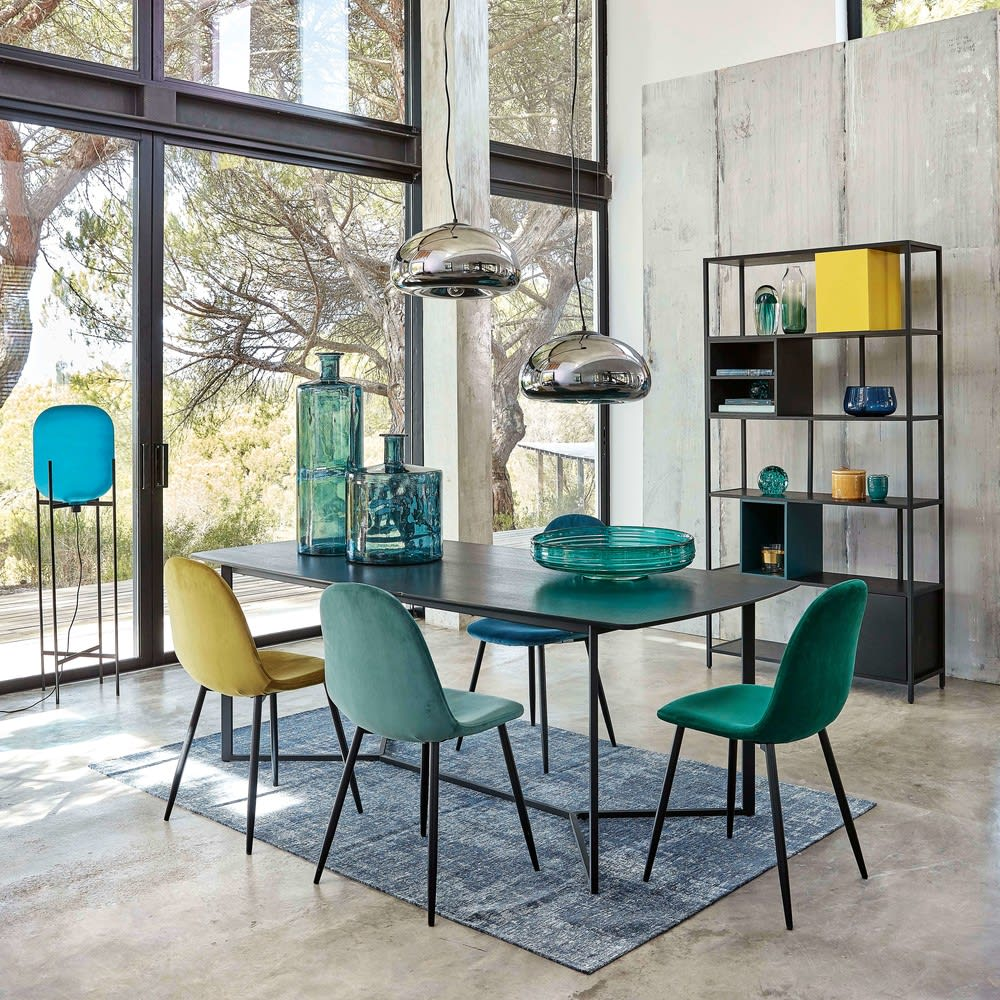 chaise style scandinave en velours bleu turquoise clyde