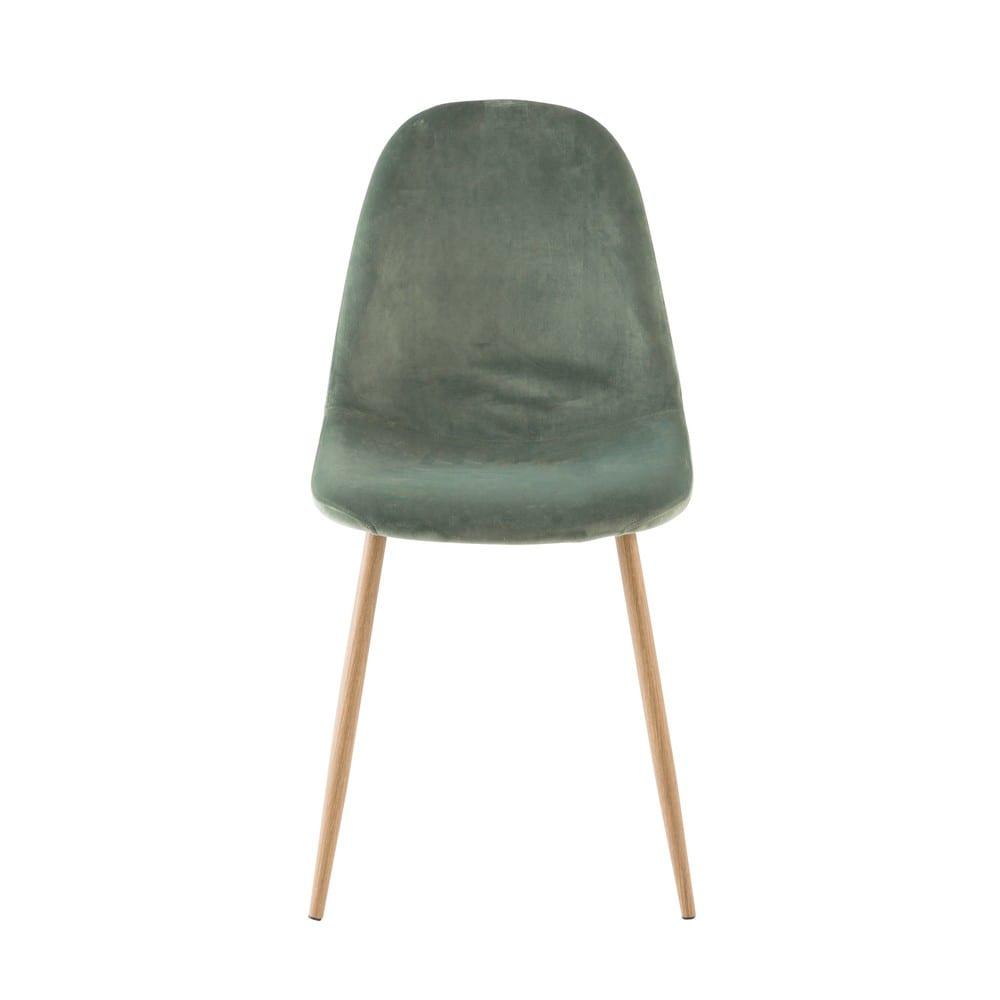 chaise style scandinave en velours vert clyde maisons du monde. Black Bedroom Furniture Sets. Home Design Ideas