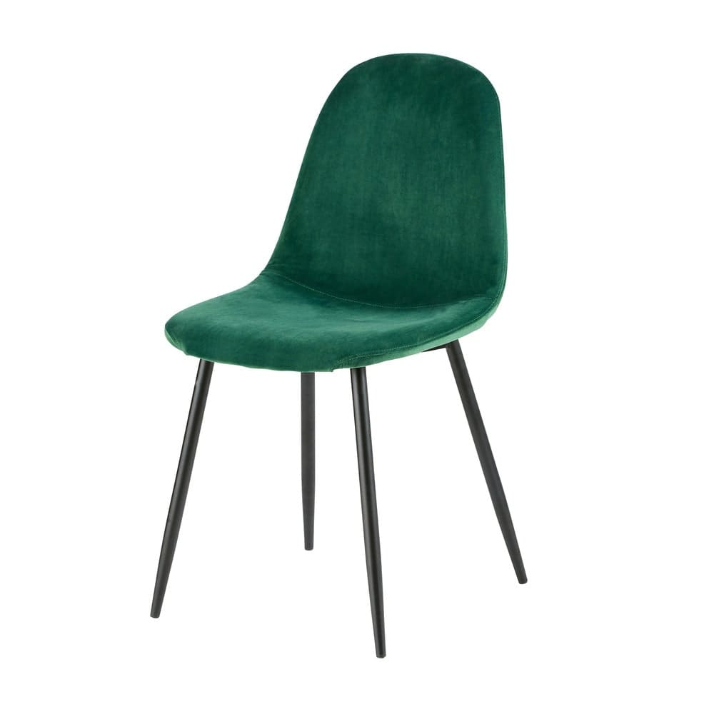 chaise style scandinave en velours vert sapin maisons du. Black Bedroom Furniture Sets. Home Design Ideas
