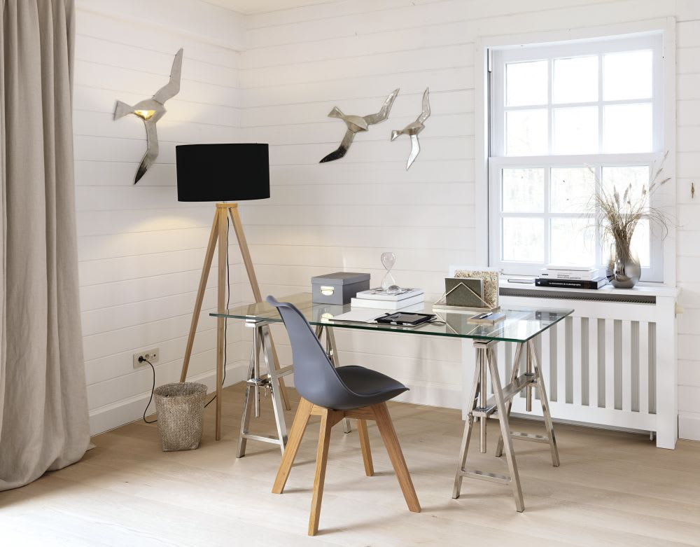 Chaise style scandinave gris anthracite et chêne ice maisons du monde