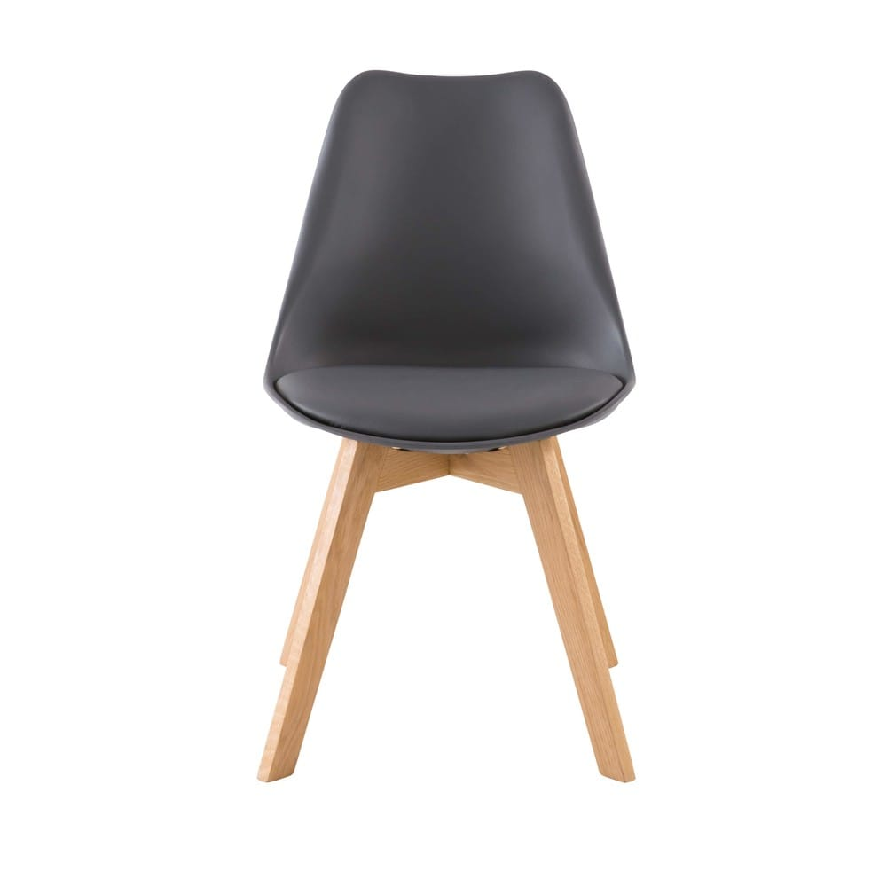 Chaise Style Scandinave Gris Anthracite Et Chene Ice