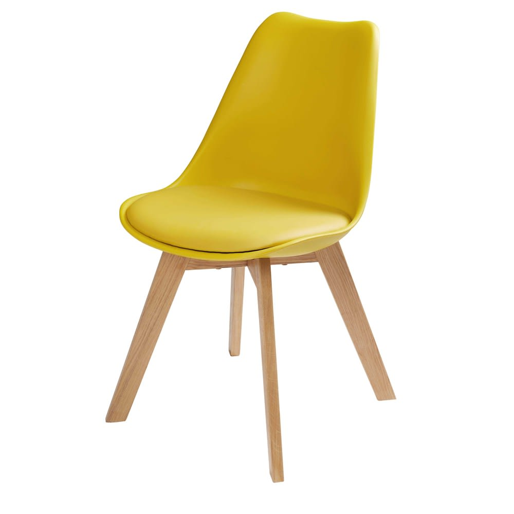 Chaise Style Scandinave Jaune Moutarde Et Chene Massif Ice
