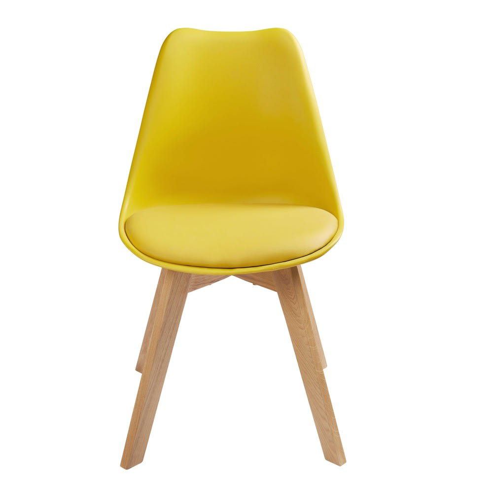 chaise style scandinave jaune moutarde et ch ne massif ice. Black Bedroom Furniture Sets. Home Design Ideas