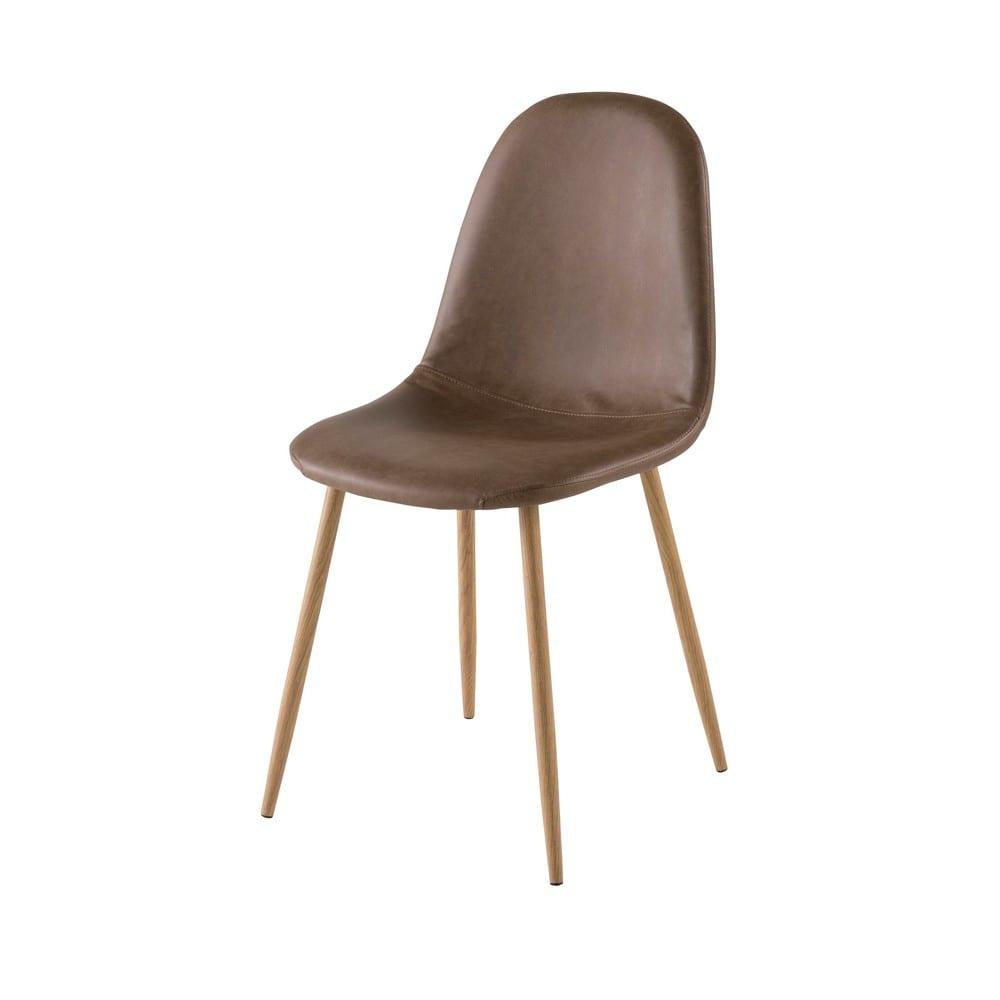chaise style scandinave marron clyde maisons du monde. Black Bedroom Furniture Sets. Home Design Ideas