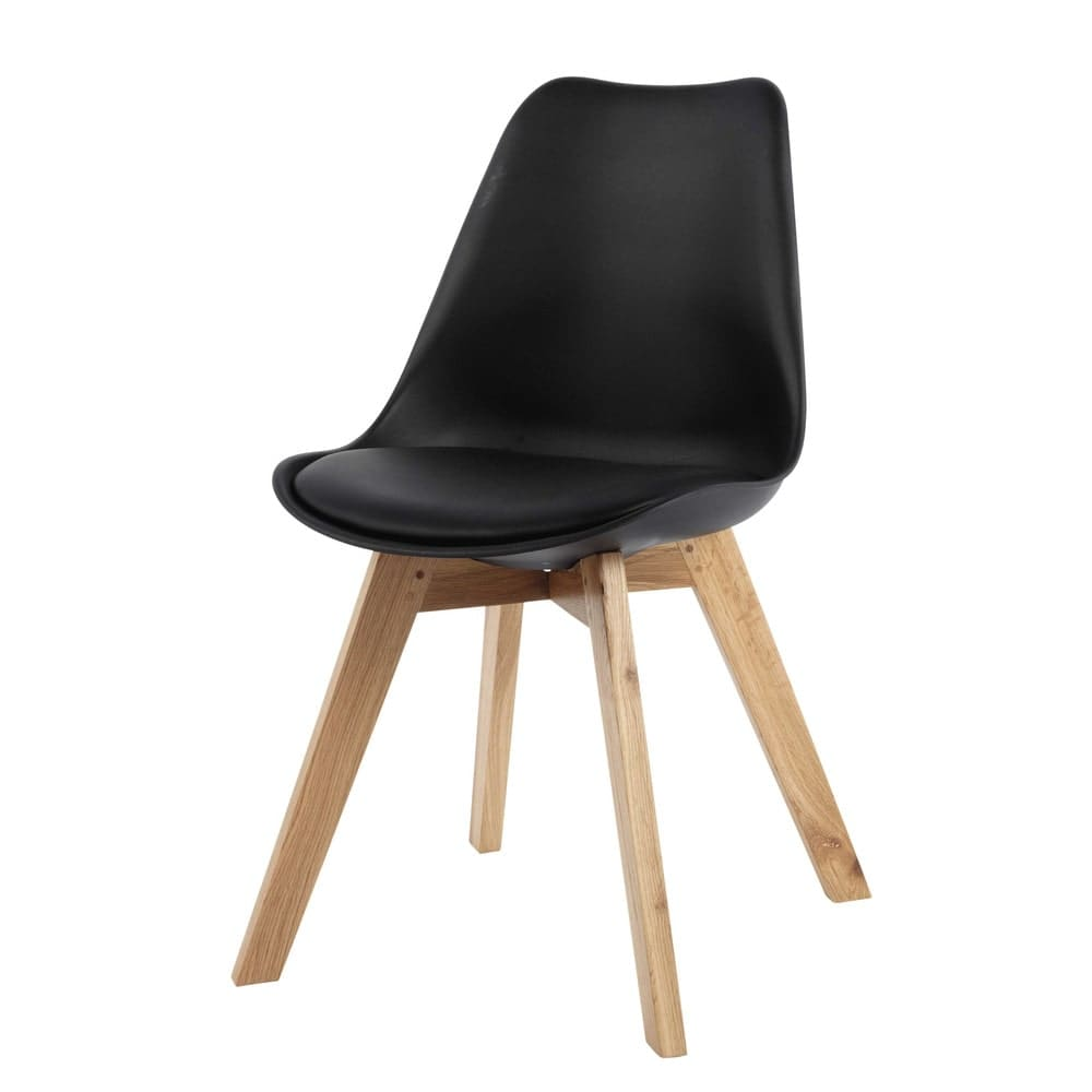 Chaise Style Scandinave Noire Et Chene Ice
