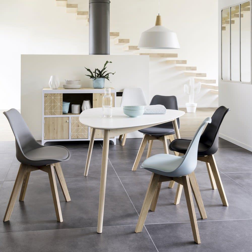 chaise style scandinave noire et ch ne ice maisons du monde. Black Bedroom Furniture Sets. Home Design Ideas
