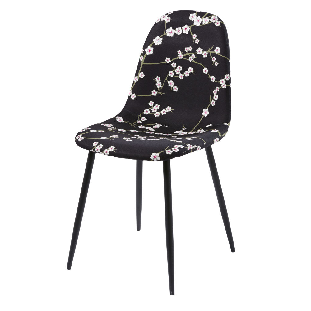 Chaise Style Scandinave Noire Motif Floral Clyde