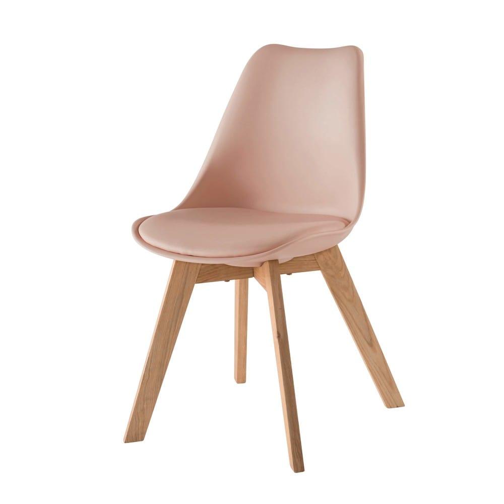 chaise style scandinave rose poudr et ch ne massif ice maisons du monde. Black Bedroom Furniture Sets. Home Design Ideas
