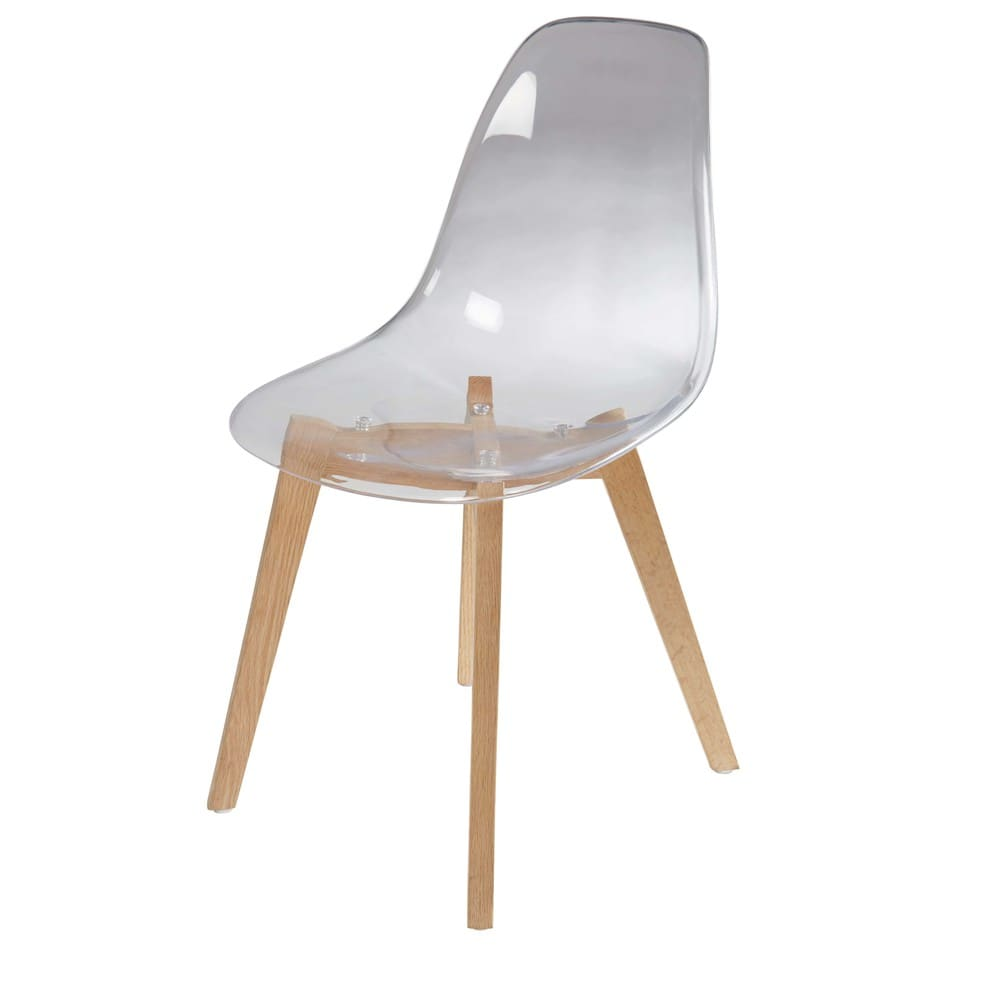 Chaise Style Scandinave Transparente Et Chene Ice