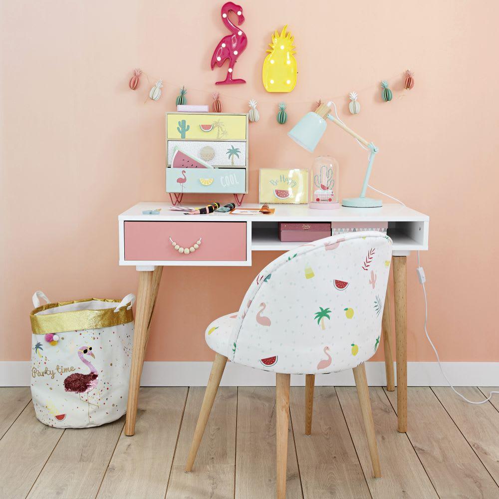 chaise vintage blanche imprim tropical et bouleau massif. Black Bedroom Furniture Sets. Home Design Ideas