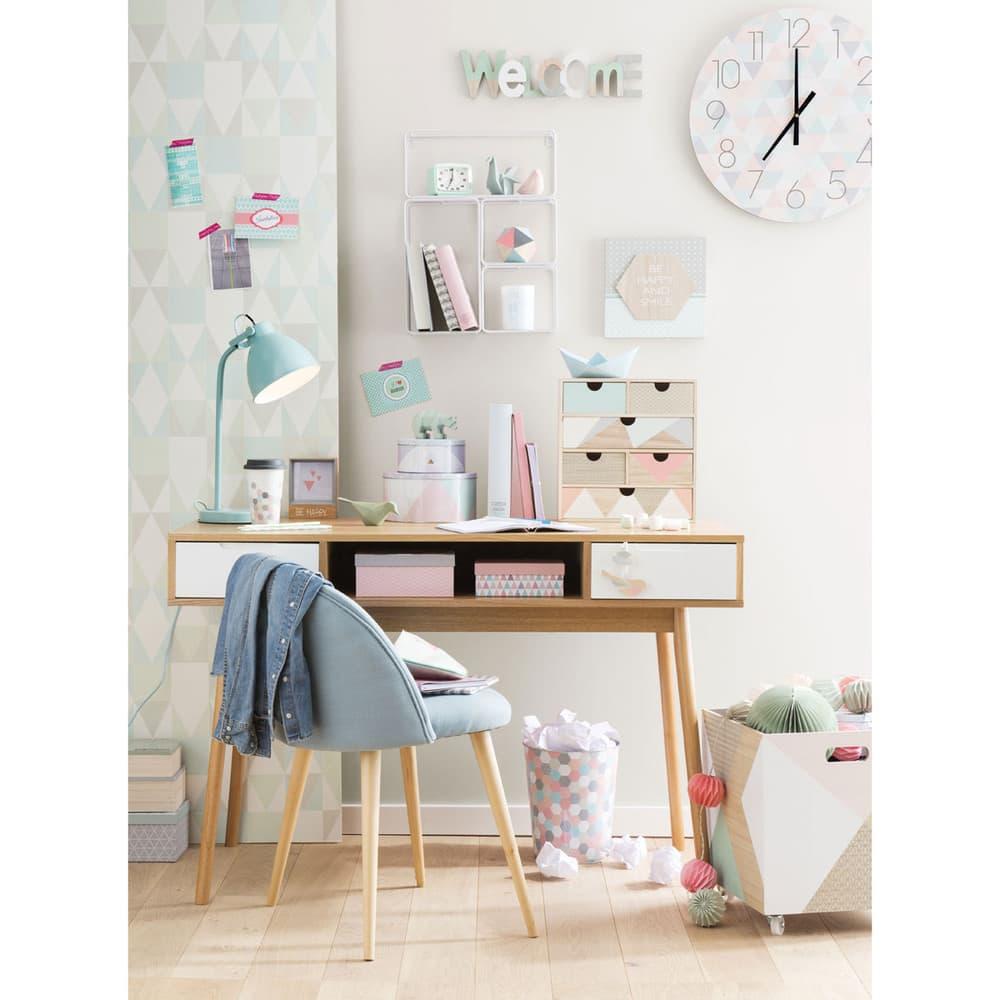 chaise vintage bleue et bouleau massif mauricette. Black Bedroom Furniture Sets. Home Design Ideas