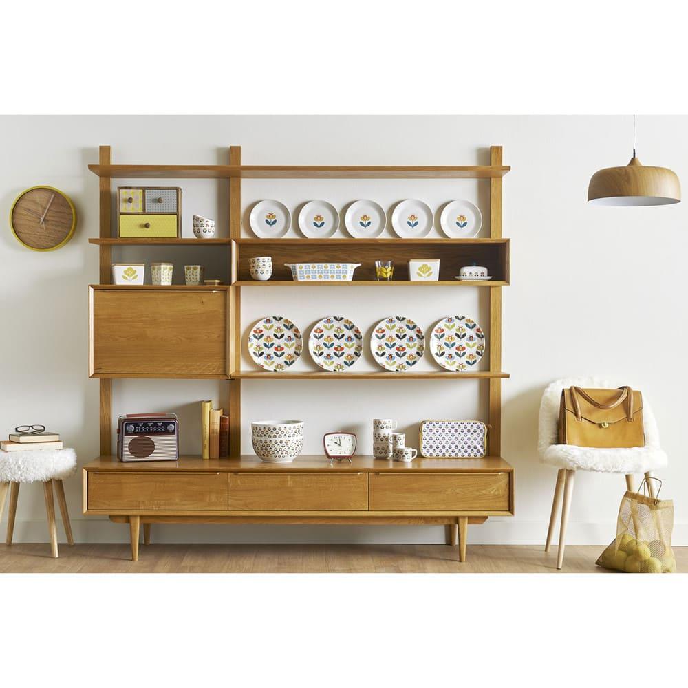 chaise vintage en imitation fourrure ivoire et bouleau. Black Bedroom Furniture Sets. Home Design Ideas
