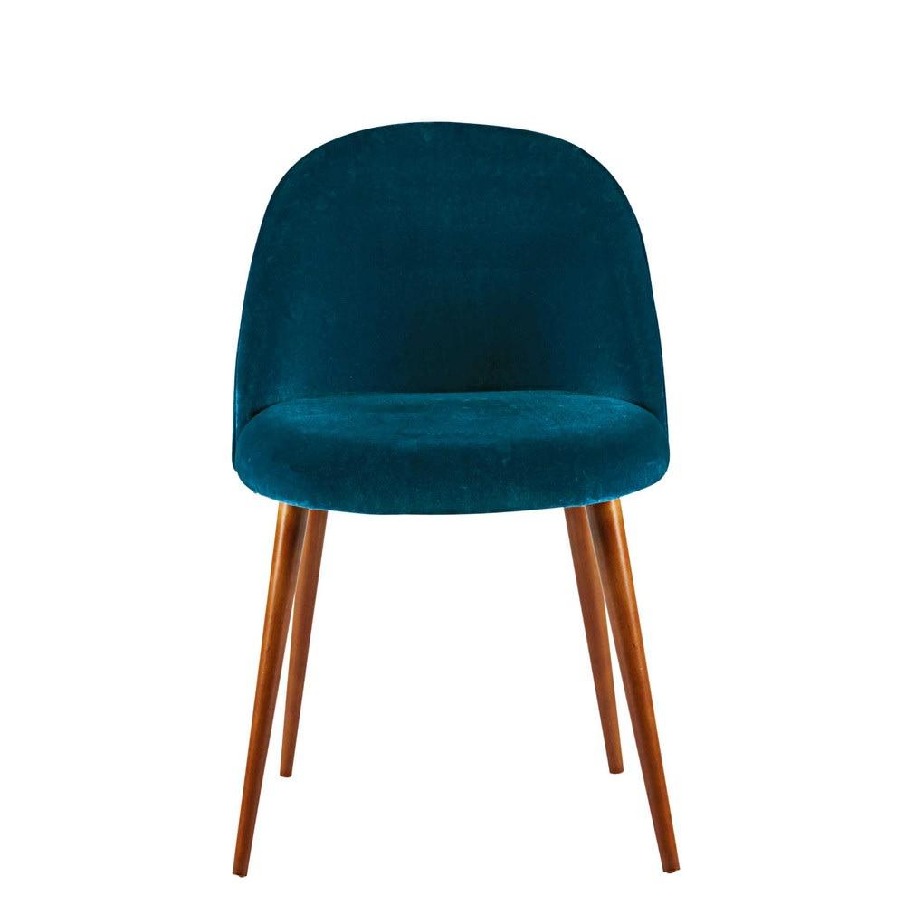 chaise vintage en velours bleu canard et bouleau massif. Black Bedroom Furniture Sets. Home Design Ideas