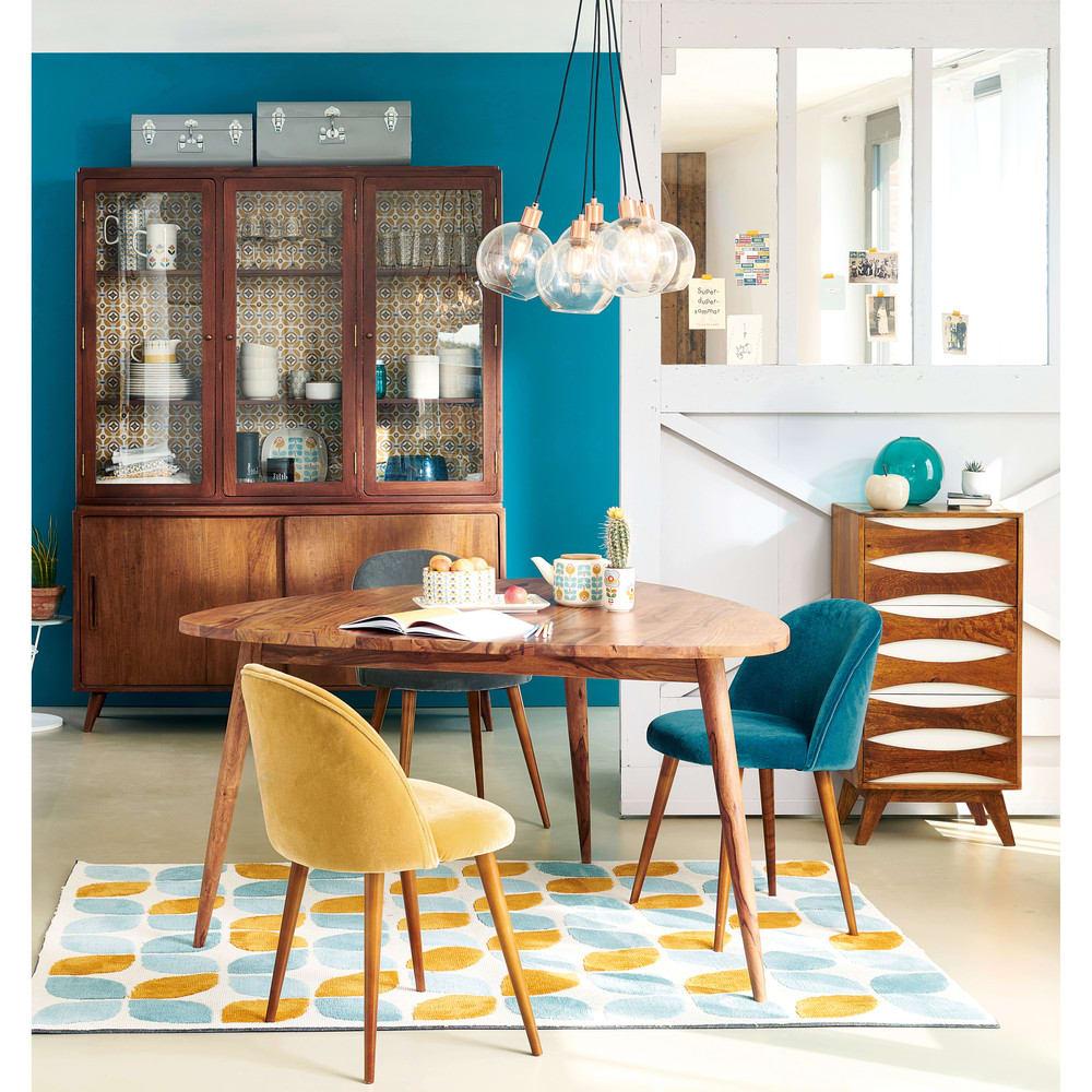 Chaise vintage en velours bleu canard et bouleau massif mauricette maisons du monde - Chaise maison du monde ...