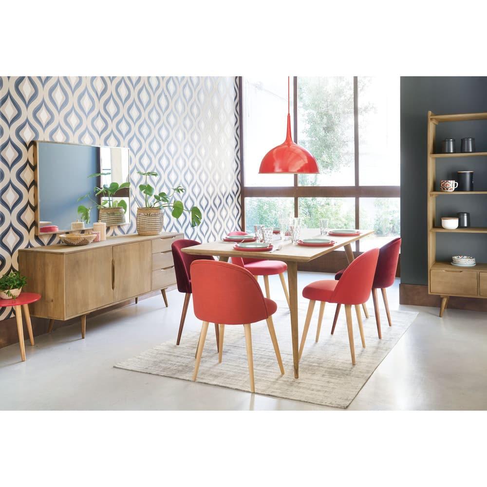 chaise vintage en velours bordeaux et bouleau mauricette. Black Bedroom Furniture Sets. Home Design Ideas