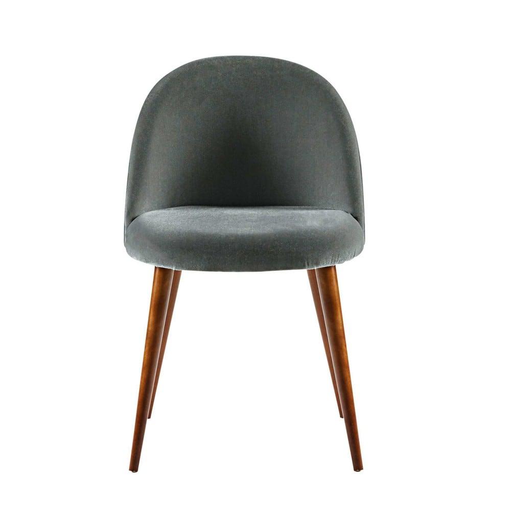 chaise vintage en velours gris anthracite et bouleau. Black Bedroom Furniture Sets. Home Design Ideas