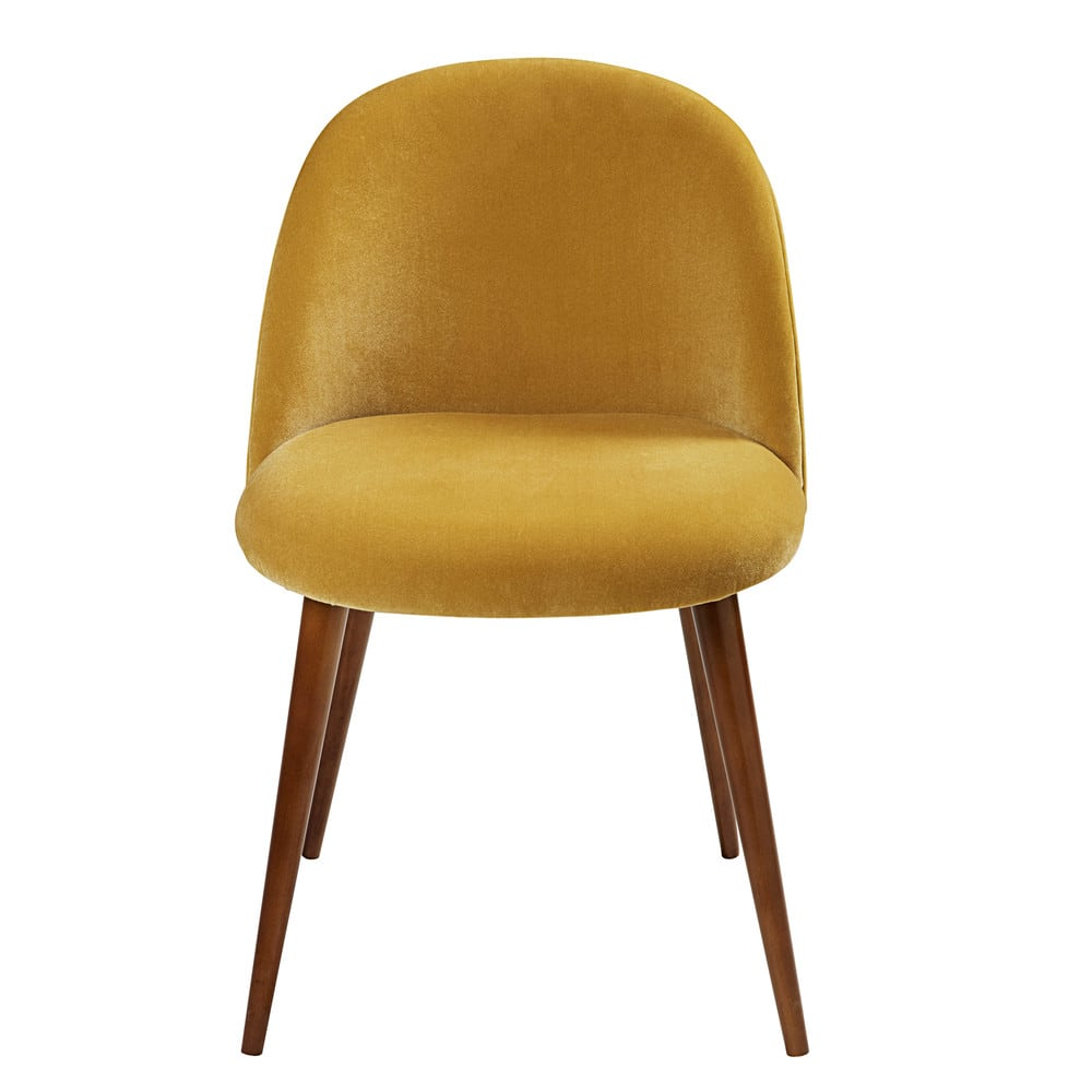 chaise vintage en velours jaune moutarde et bouleau. Black Bedroom Furniture Sets. Home Design Ideas
