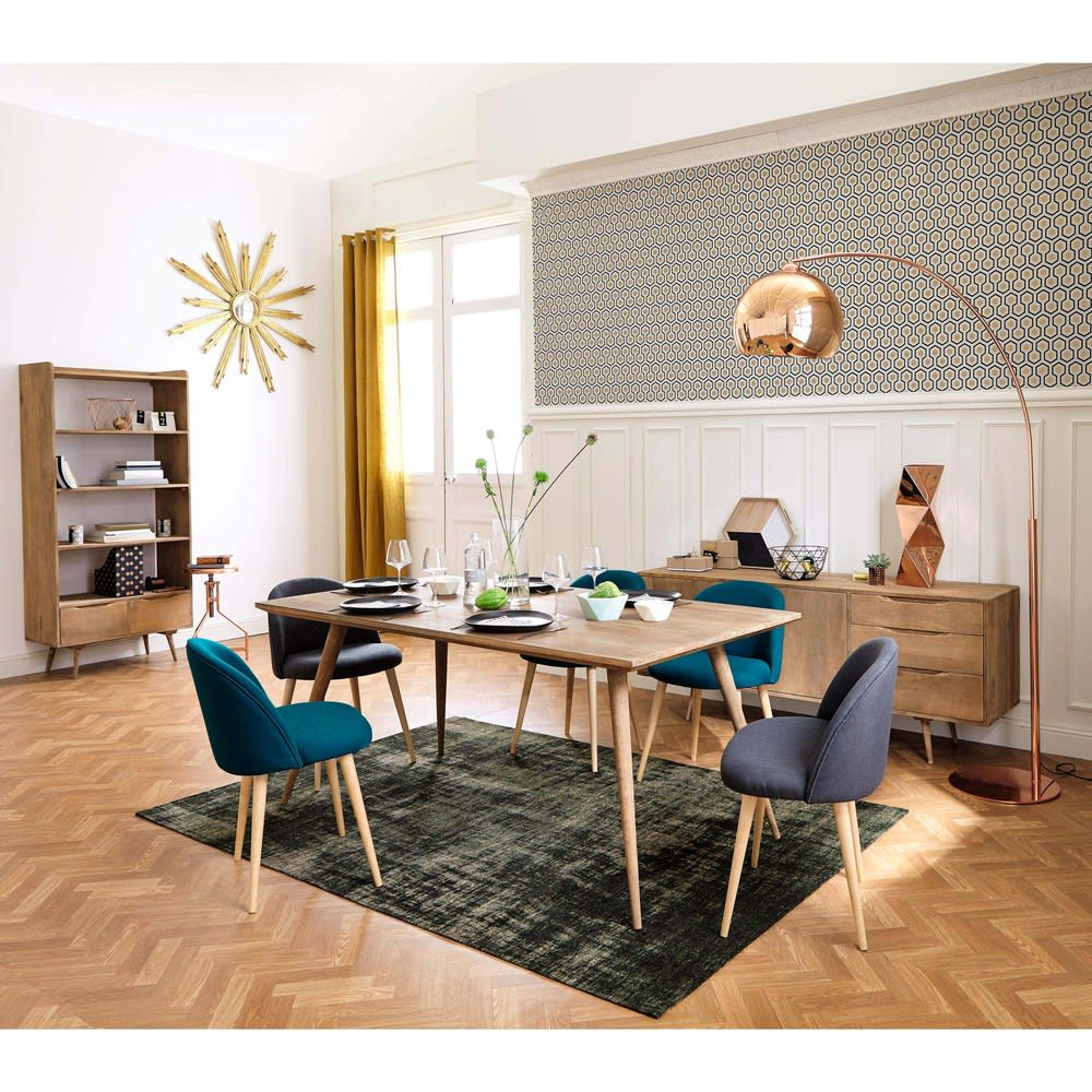 chaise vintage gris anthracite et bouleau massif. Black Bedroom Furniture Sets. Home Design Ideas