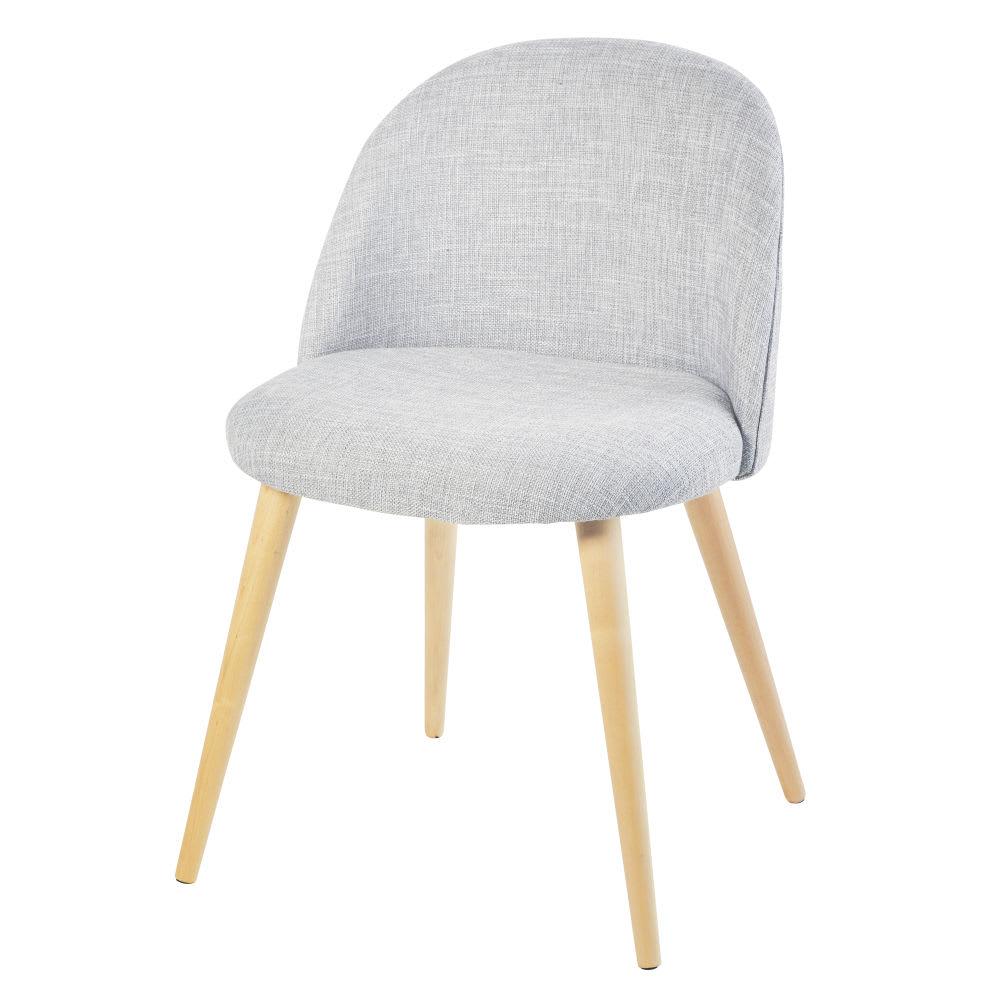 Chaise vintage gris clair chiné et bouleau Mauricette | Maisons du