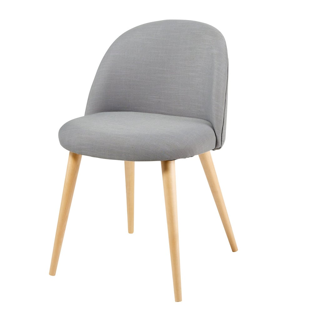chaise vintage grise et bouleau massif mauricette. Black Bedroom Furniture Sets. Home Design Ideas