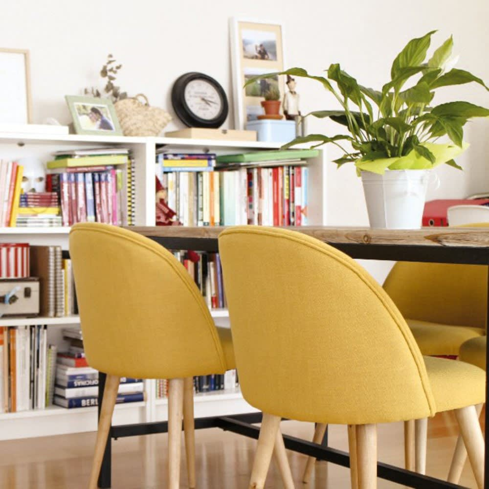 chaise vintage jaune et bouleau massif mauricette. Black Bedroom Furniture Sets. Home Design Ideas