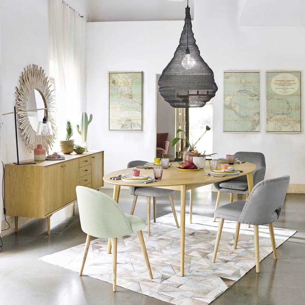chaise vintage vert clair et bouleau massif mauricette. Black Bedroom Furniture Sets. Home Design Ideas