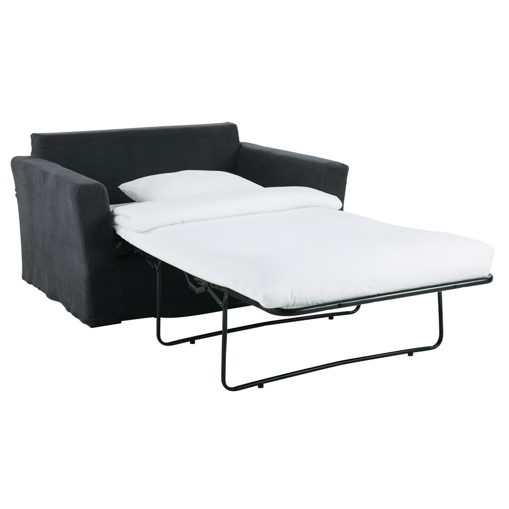 Charcoal Grey 1 2 Seater Linen Sofa Bed Bartholom 233