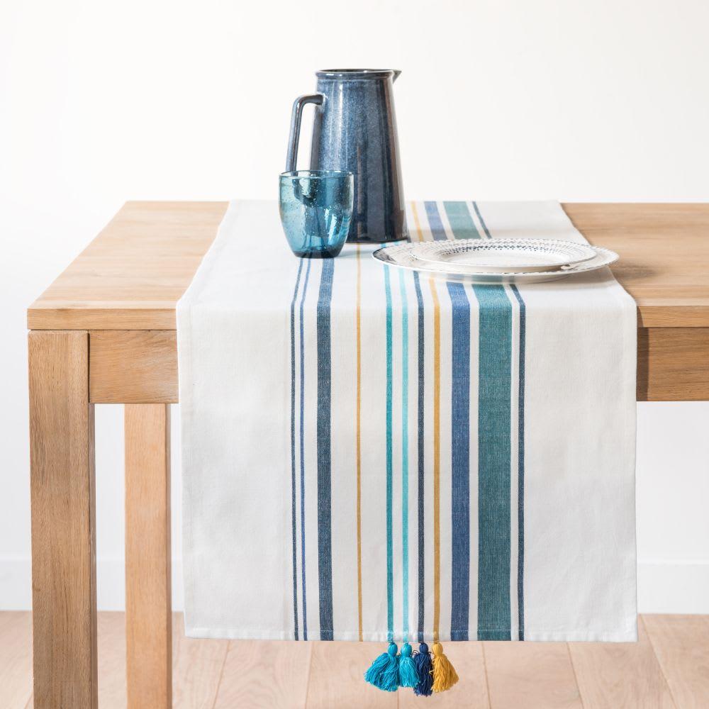 chemin de table en coton rayures et pompons 45x150 ile. Black Bedroom Furniture Sets. Home Design Ideas