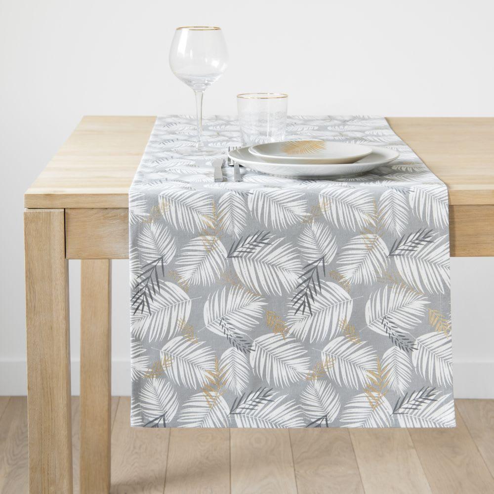 chemin de table en coton gris imprim feuillages 45x150. Black Bedroom Furniture Sets. Home Design Ideas