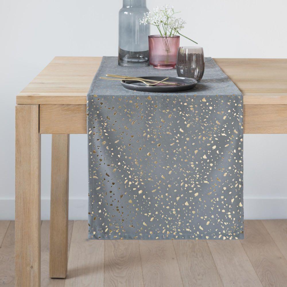 Chemin de table en coton lavé gris à motifs dorés 40x150 | Maisons