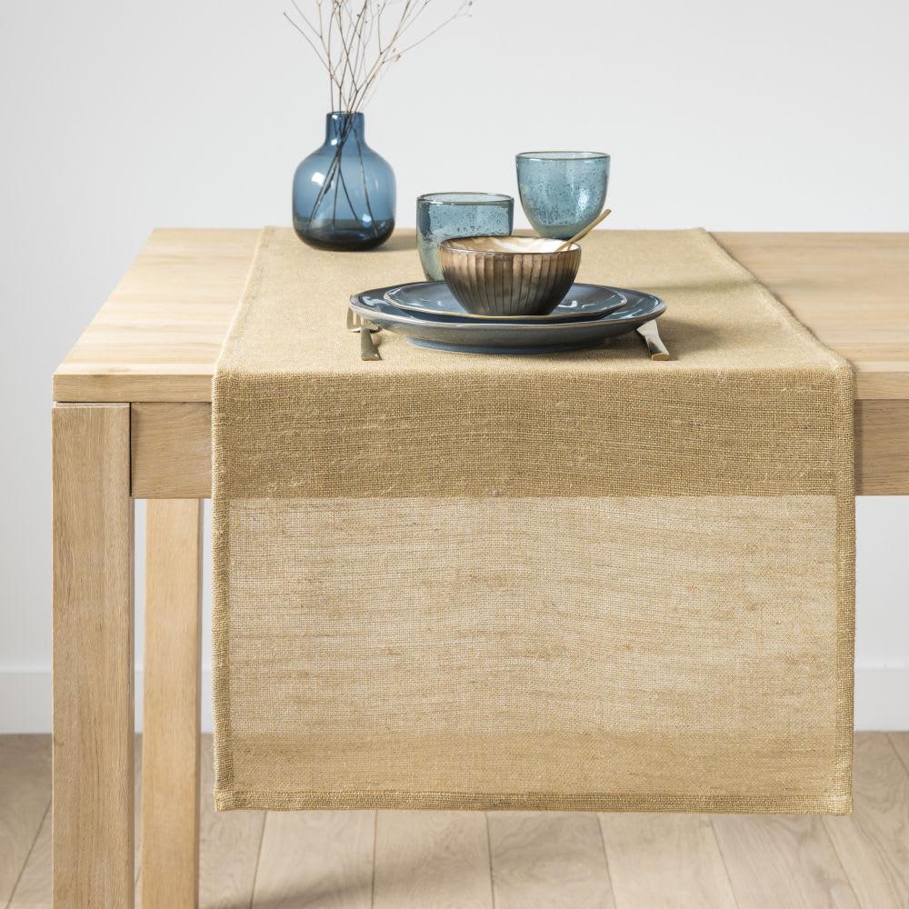 chemin de table en coton tress jaune et dor nyala. Black Bedroom Furniture Sets. Home Design Ideas