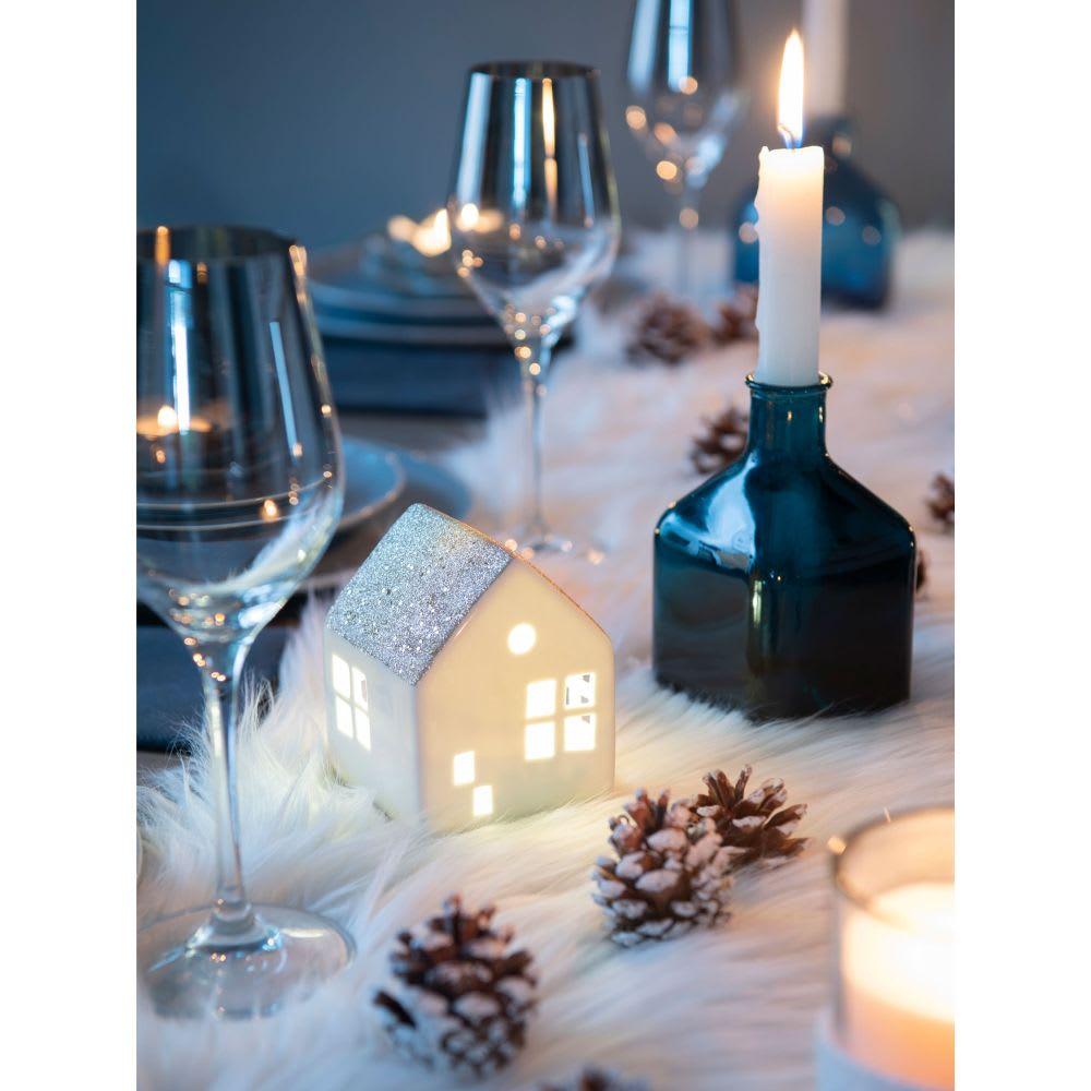 chemin de table en fausse fourrure blanc l 160 cm eskimo. Black Bedroom Furniture Sets. Home Design Ideas