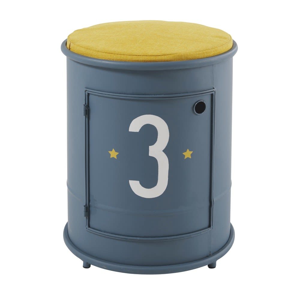 Childrenu0027s Blue Metal Bedside Table And Chair Petit Bolide