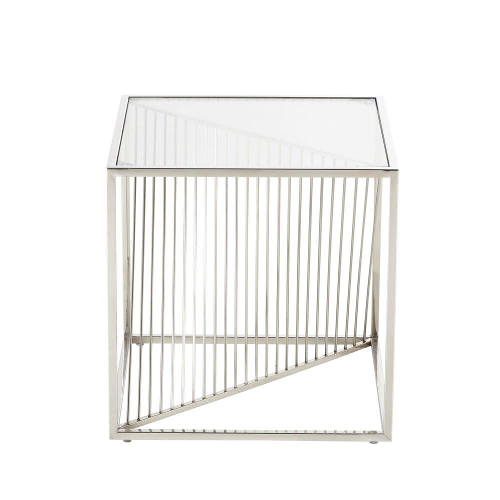 Chrome Metal And Glass End Table Harrison Maisons Du Monde