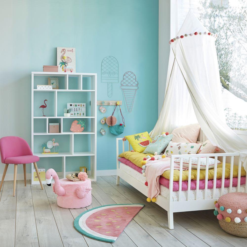 Ciel de lit enfant à pompons en coton écru