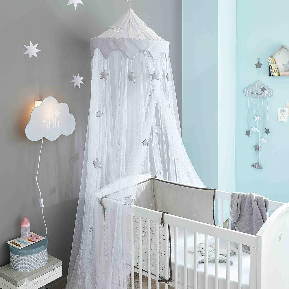 ciel de lit enfant blanc et gris songe maisons du monde. Black Bedroom Furniture Sets. Home Design Ideas
