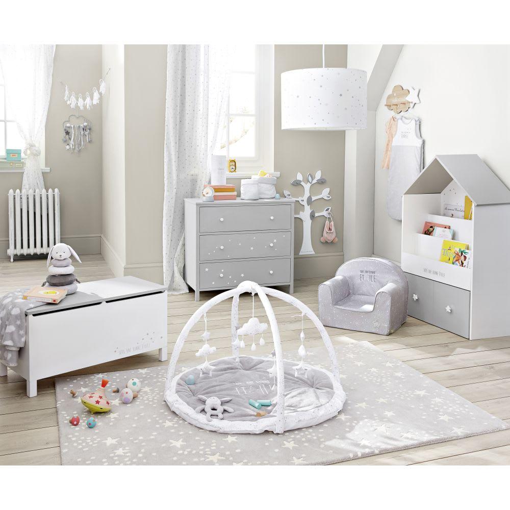 coffre jouets blanc et gris motifs toiles celeste. Black Bedroom Furniture Sets. Home Design Ideas