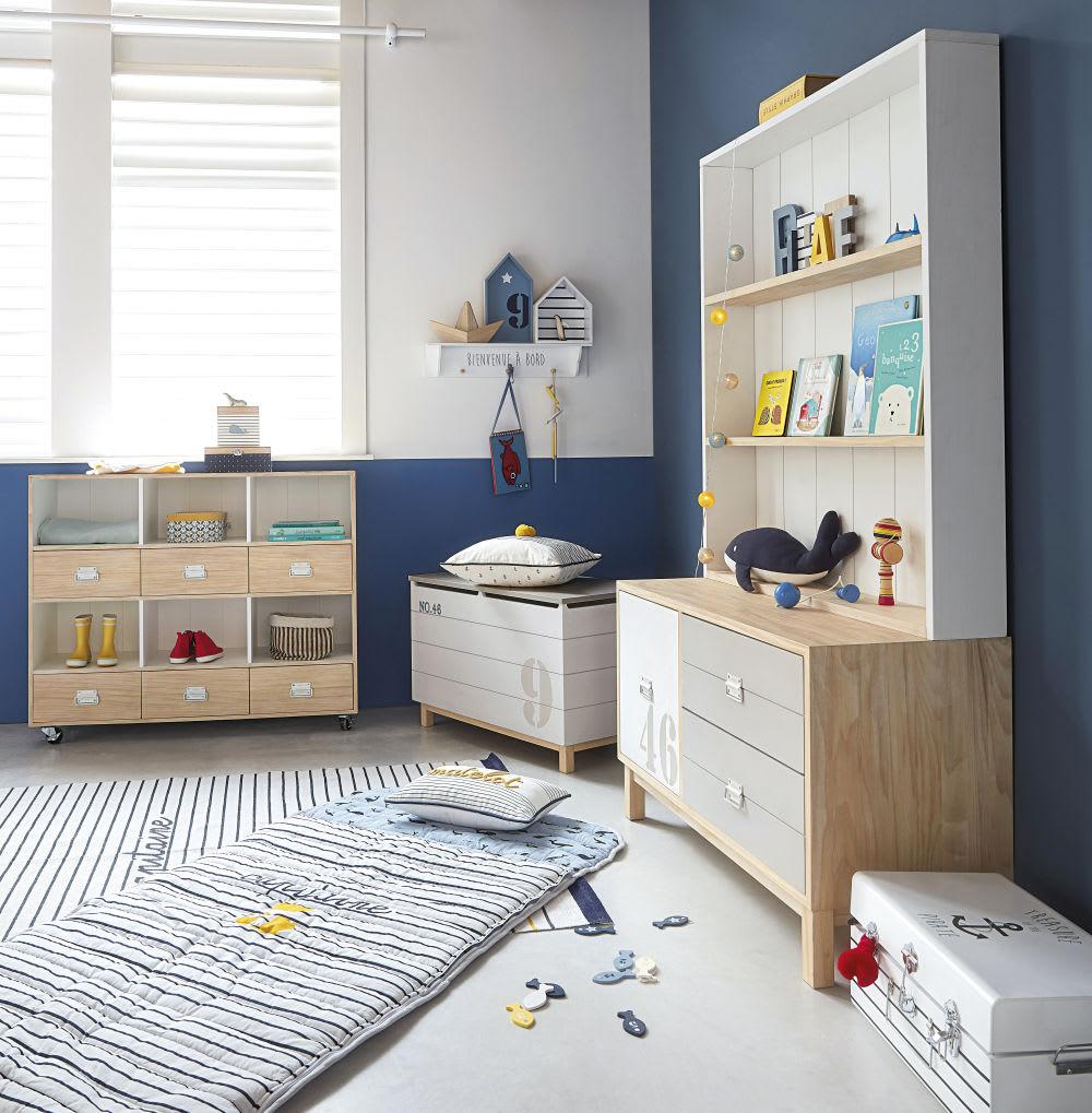 coffre jouets en pin blanc et gris imprim marin. Black Bedroom Furniture Sets. Home Design Ideas