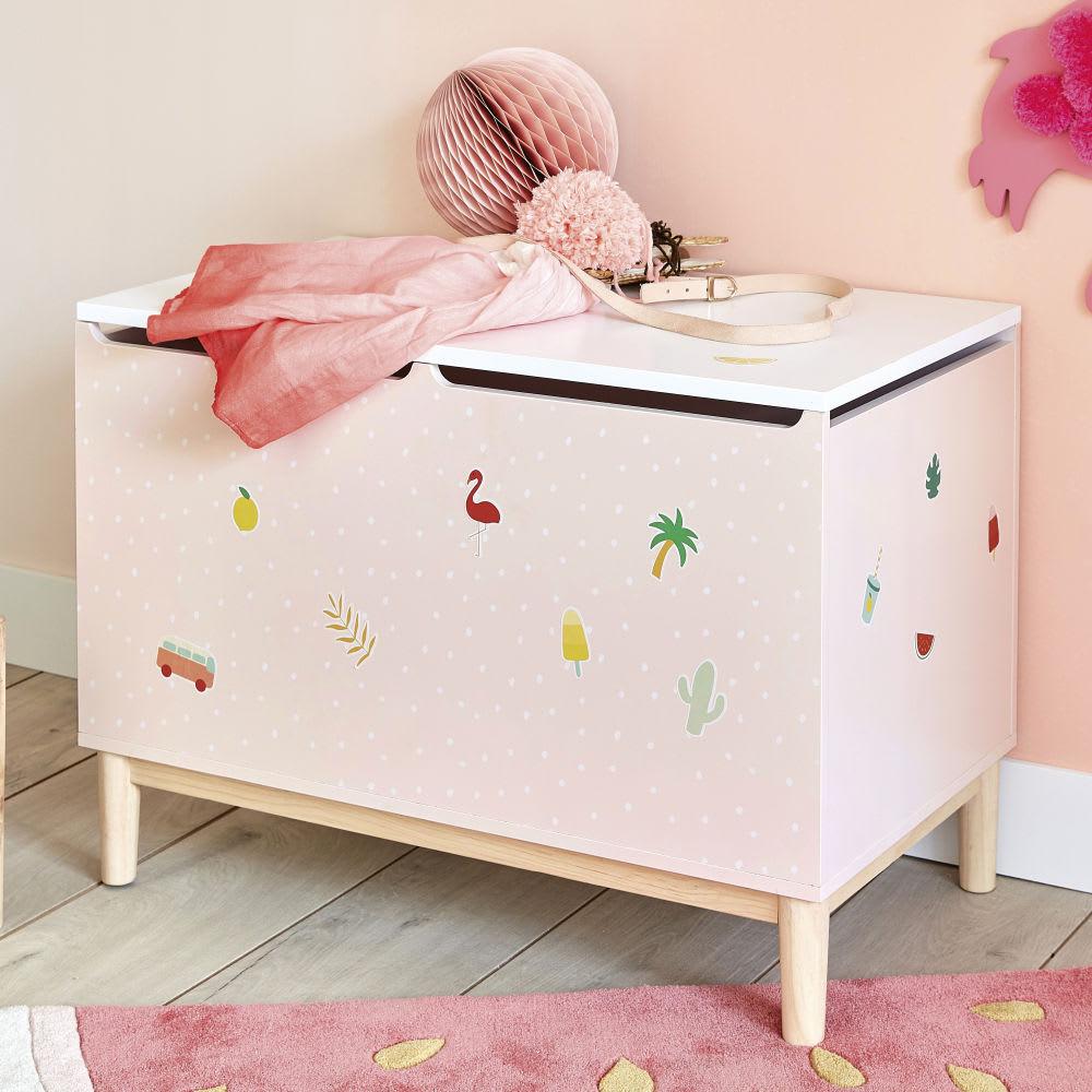 coffre jouets enfant avec stickers tropicool maisons. Black Bedroom Furniture Sets. Home Design Ideas